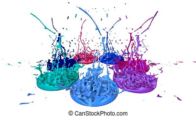 3d splashes of liquid. Paint bounce in 4k on white background. Simulation of splashes of ink on a musical speaker that play music. multicolor version