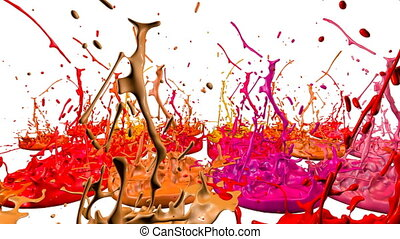 3d splashes of liquid. Paint bounce in 4k on white background. Simulation of splashes of ink on a musical speaker that play music. version shades of red 2