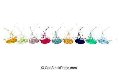 3d splashes of liquid. Paint bounce in 4k on white background. Simulation of splashes of ink on a musical speaker that play music. multicolor version 6
