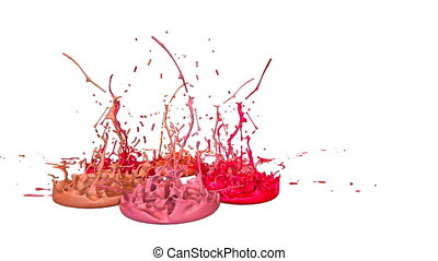 3d splashes of paint dance in 4k on white background. Simulation of splashes of ink on a musical speaker that play music. V18