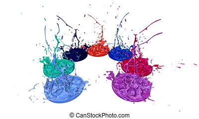 3d splashes of paint dance in 4k on white background. Simulation of splashes of ink on a musical speaker that play music. V17