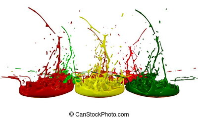 3d splashes of paint dance in 4k on white background. Simulation of splashes of ink on a musical speaker that play music. V1