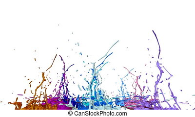 3d splashes of paint dance in 4k on white background. Simulation of splashes of ink on a musical speaker that play music. V16