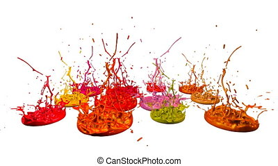 3d splashes of paint dance in 4k on white background. Simulation of splashes of ink on a musical speaker that play music. V11