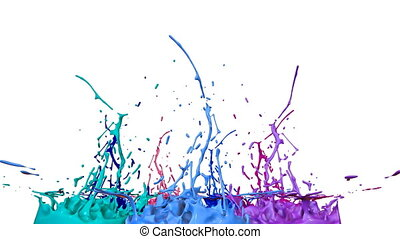 3d splashes of paint dance in 4k on white background. Simulation of splashes of ink on a musical speaker that play music. V19