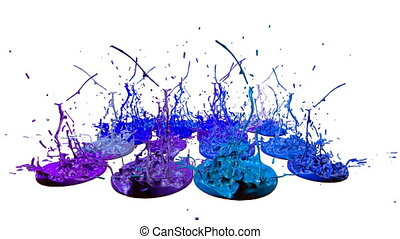 3d splashes of paint dance in 4k on white background. Simulation of splashes of ink on a musical speaker that play music. V10