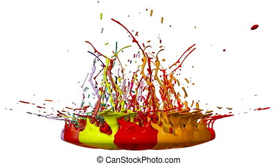 3d splashes of paint dance in 4k on white background. Simulation of splashes of ink on a musical speaker that play music. V27