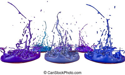 3d splashes of paint dance in 4k on white background. Simulation of splashes of ink on a musical speaker that play music. V7