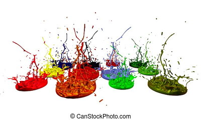 3d splashes of paint dance in 4k on white background. Simulation of splashes of ink on a musical speaker that play music. V6