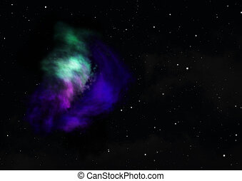 3d, splendere, interpretazione, essendo, nebula.