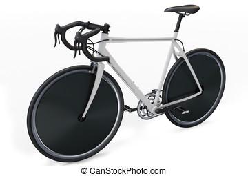 3d sport race bike detailed on white background