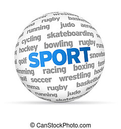 Sport - 3d Sport Word Sphere on white background.