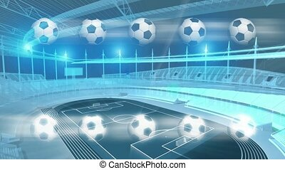 3D sports complex with soccer balls in forefront