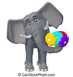 3d, spotprent, elefant, met, bloemen