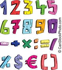 3d, spotprent, getallen