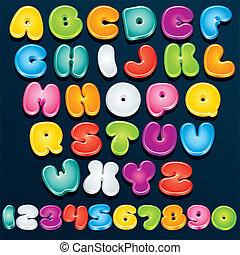 3d, spotprent, lettertype