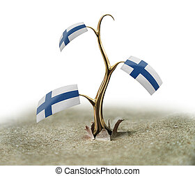 3d sprout with Finnish flag on white