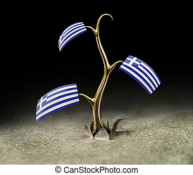 3d sprout with Greek flag on black