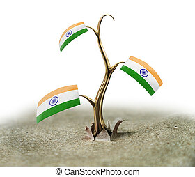 3d sprout with Indian flag on white