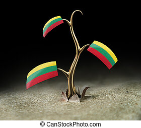 3d sprout with Lithuanian flag on black