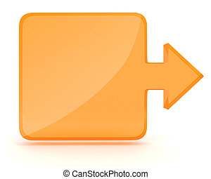 3d square and arrow shape on white background