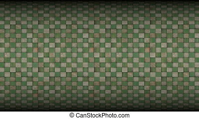 3d square mosaic tiled metal rusty