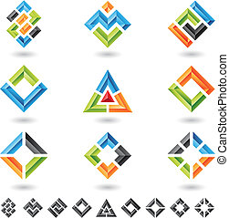 3d squares, rectangles, triangles and various geometrical shapes, vector illustration