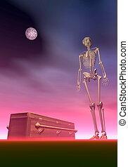3d, -, squelette, render, cercueil
