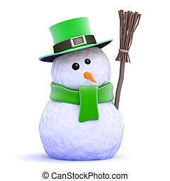 3d St Patricks Day snowman - 3d render of a snowman dressed...