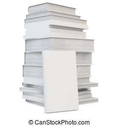 3d stack of blank books cover, studying illustration. Back to school concept on white background