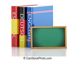 3d Stack of dictionaries and Blackboard. Language learning