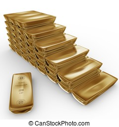 3d stack of gold bars