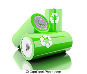 3d Stack of green batteries with recycling symbol .
