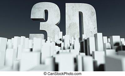 3d, stadt, begriff, modell, von, cityscape