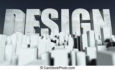 3d, stadt, design, begriff, modell, von, cityscape