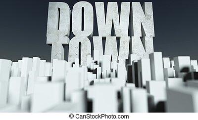 3d, stadt, stadtzentrum, begriff, modell, von, cityscape