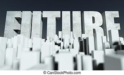 3d, stadt, zukunft, begriff, modell, von, cityscape