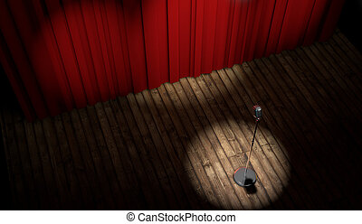3d stage with red curtain and vintage microphone in spot...