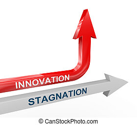 3d stagnation and innovation arrows - 3d render of...
