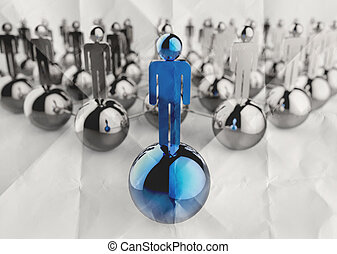 3d stainless human social network and leadership on crumpled paper as concept