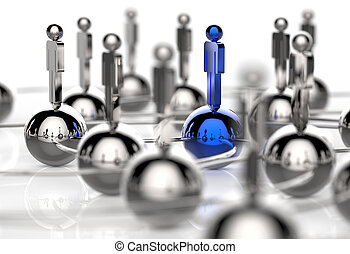 3d stainless human social network and leadership as concept