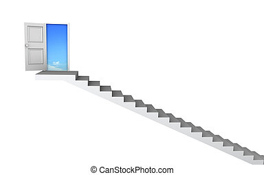 3D stairs up to clean sky with clipping path - Open door to ...