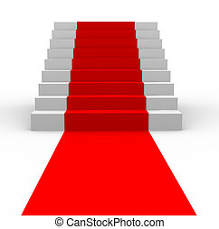 3d stairs with red carpet