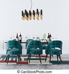 3d, stanza, tavola, render, cenando, interno, setup