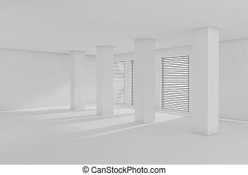 3d, stanza vuota, con, luce sole