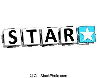 3D Star Button Click Here Block Text