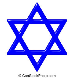 3D Star of David - 3d star of David isolated in white....