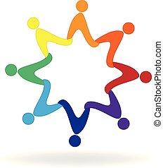 3D Star shape connected people logo - 3D Star shape...