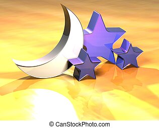 3D Stars Gold Sign