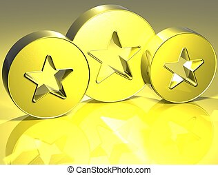 3D Stars Yellow Sign